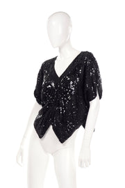 1980s Linsiano Black Silk Sequin Beaded Butterfly Top