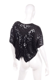 1980's Black Silk Sequined Butterfly Top