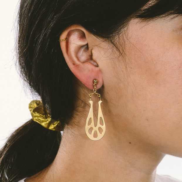 Gold Tone Vintage Cutout Drop Earrings