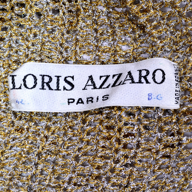 Loris Azzaro Paris Rare Beaded Gold Silver Metal Vintage Top