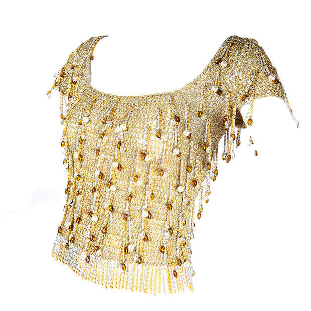1970s Loris Azzaro Vintage Silver & Gold Metallic Crochet Beaded Top