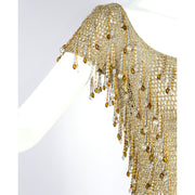 Loris Azzaro Paris Beaded Gold Silver Metal Vintage Top