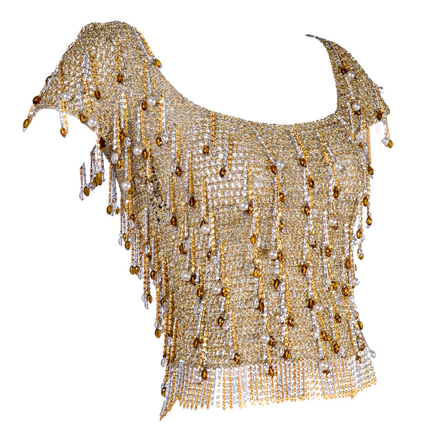 Loris Azzaro Beaded Gold Silver Metal Vintage Top