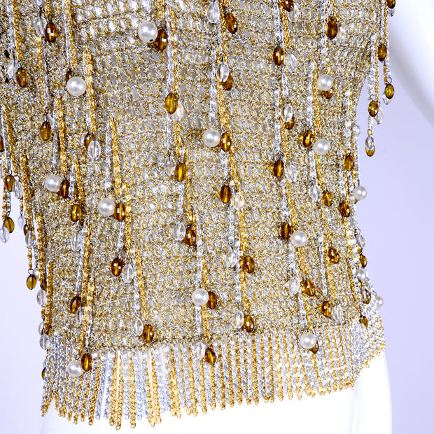 Rare Loris Azzaro Beaded Gold Silver Metal Vintage Top