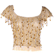 Loris Azzaro Beaded Gold Silver Metal Vintage Top Beads