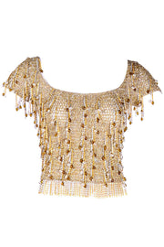 Loris Azzaro Beaded Gold Silver Metal Vintage Mesh Top