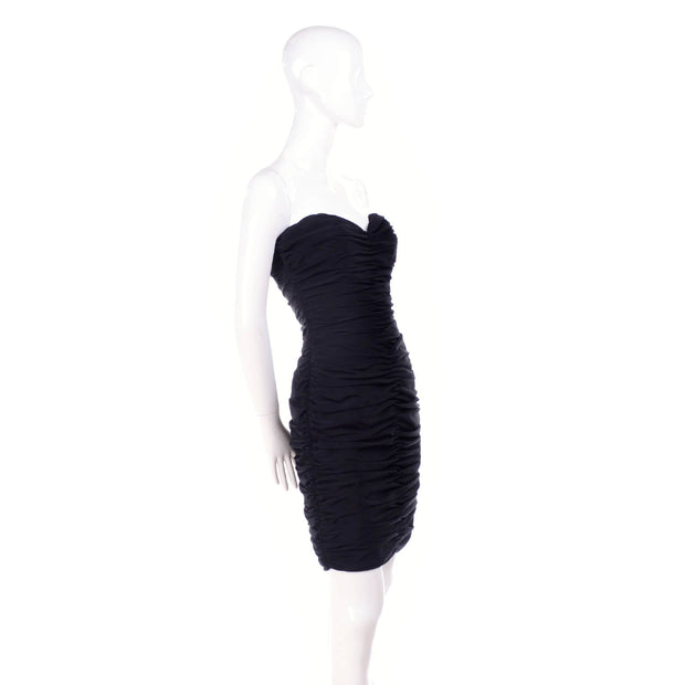 1980s Loris Azzaro Boutique Vintage Black Strapless Bodycon Dress Size 2