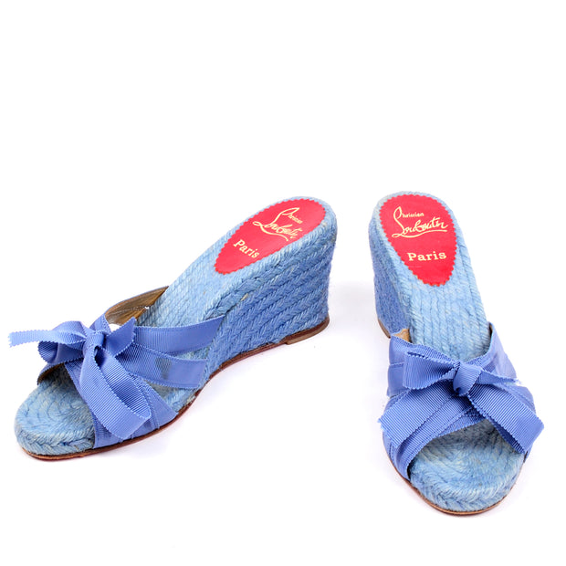 Christian Louboutin blue wedge sandals shoes ribbons