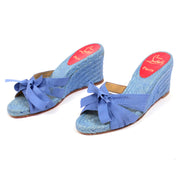 Christian Louboutin blue wedge sandals shoes ribbons 37