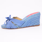 Christian Louboutin shoes blue wedge sandals w ribbons