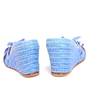 Christian Louboutin blue shoes wedge sandals espadrilles