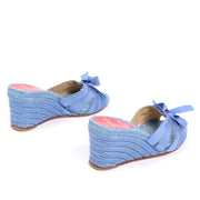 Christian Louboutin blue shoes wedge sandals espadrilles 37
