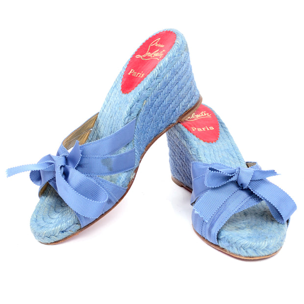 Christian Louboutin sz 37 shoes wedge sandals espadrilles blue