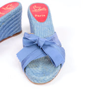 Christian Louboutin shoes wedge sandals blue espadrilles