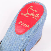Christian Louboutin blue shoes wedge sandals sz 37 espadrilles