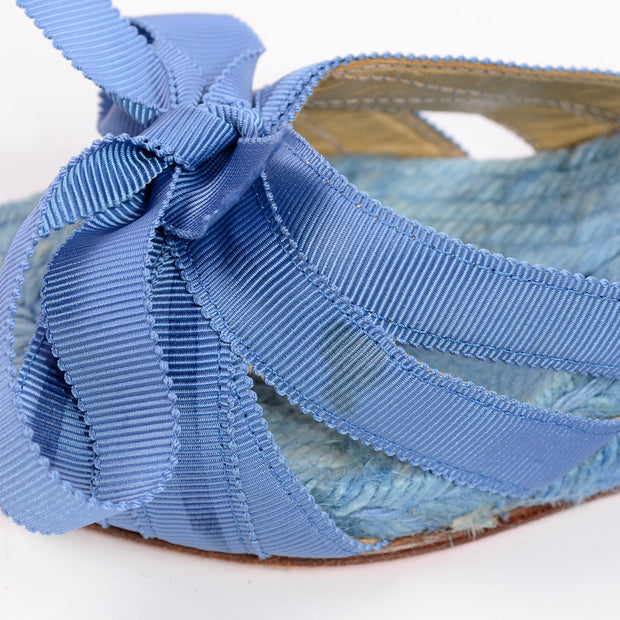 Christian Louboutin Shoes Blue Espadrille Bow Wedge Sandals Size 37