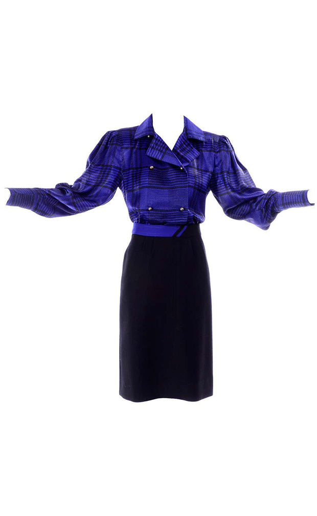 Louis Feraud Vintage Blue Silk Blouse and Black Wool Skirt