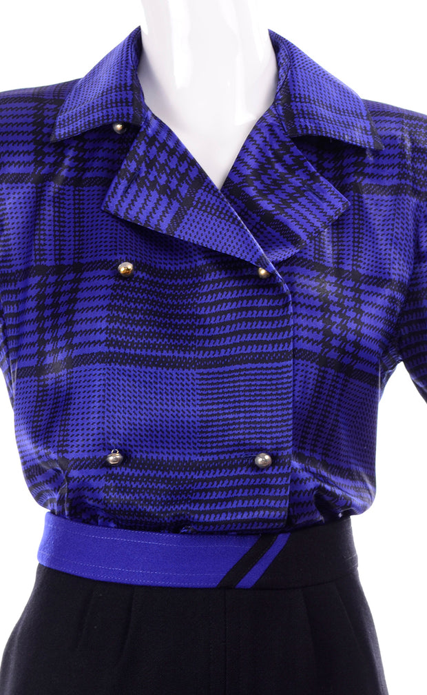 80s Louis Feraud Vintage Blue Silk Blouse and Black Wool Skirt