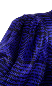 Louis Feraud Vintage Blue Plaid Silk Blouse and Black Wool Skirt