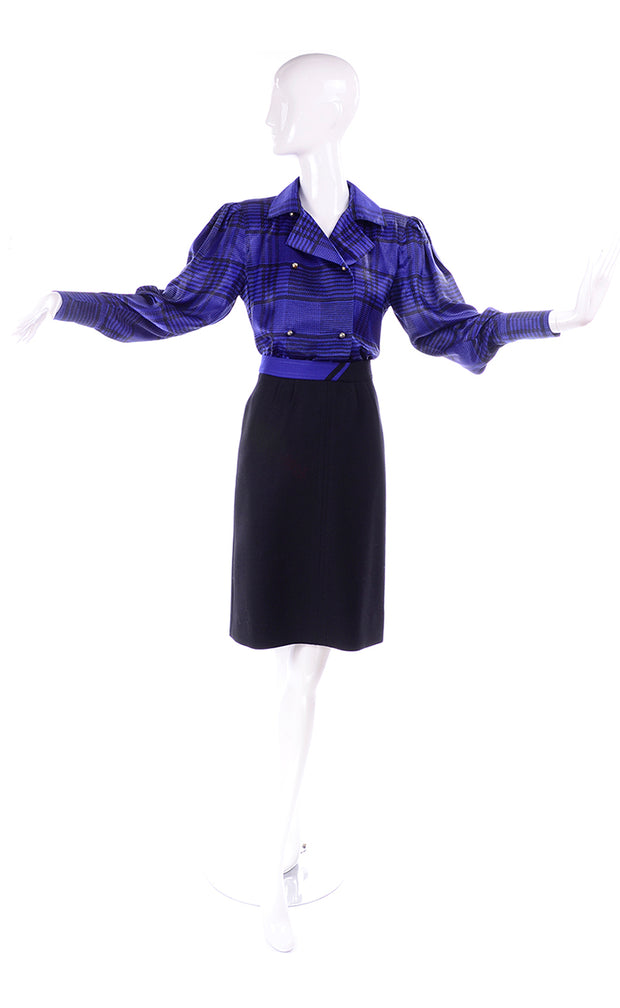 1980s Louis Feraud Vintage Blue Plaid Silk Blouse & Black Wool Skirt