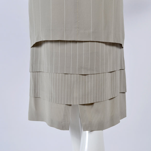 1980s Louis Feraud Vintage Dress in Pinstriped Silk