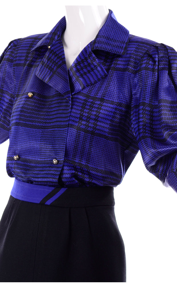 1980s Louis Feraud Vintage Blue Silk Blouse and Black Wool Skirt