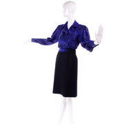 Louis Feraud Vintage Blue Silk Blouse & Black Wool Skirt