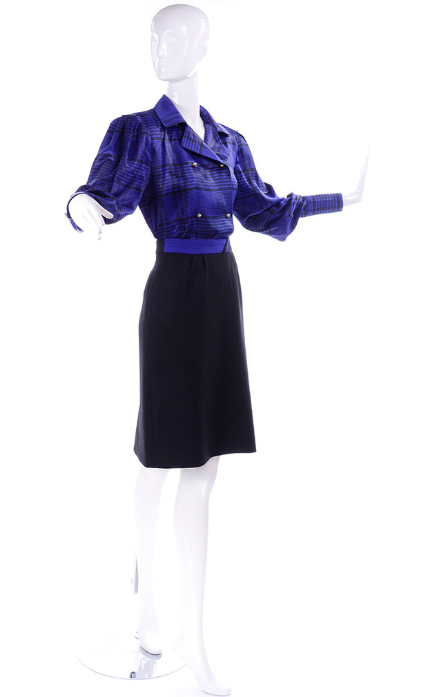 80s Louis Feraud Vintage Blue Silk Blouse w Black Wool Skirt