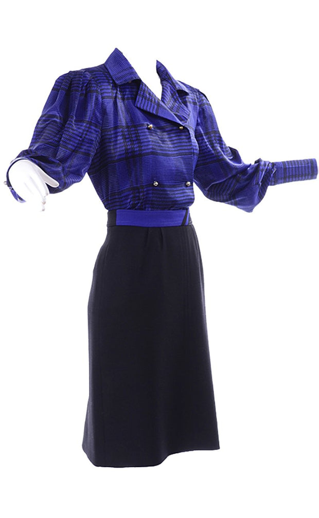 Louis Feraud Vintage Blue Plaid Silk Blouse Top & Skirt