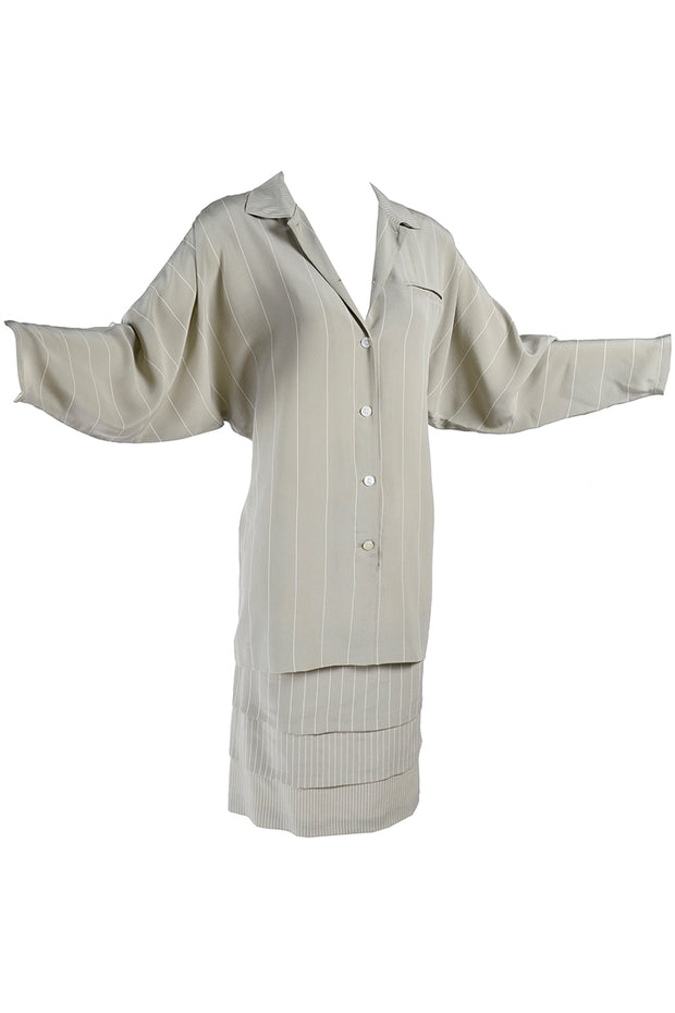 1980's Louis Feraud Pinstripe Shirt dress with layered Skirt