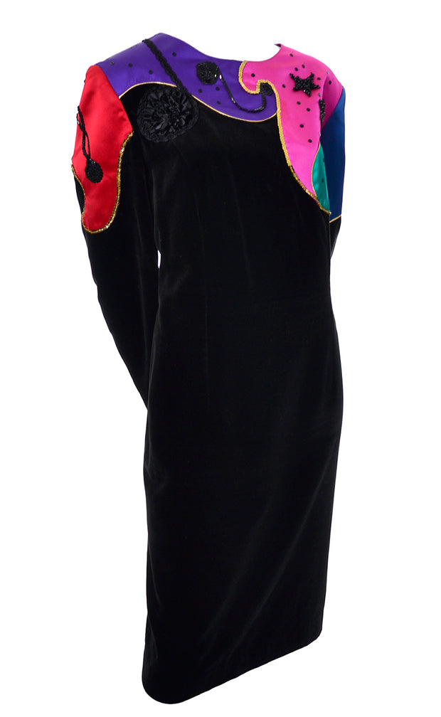 1980s Louis Feraud Vintage Velvet Beaded Dress