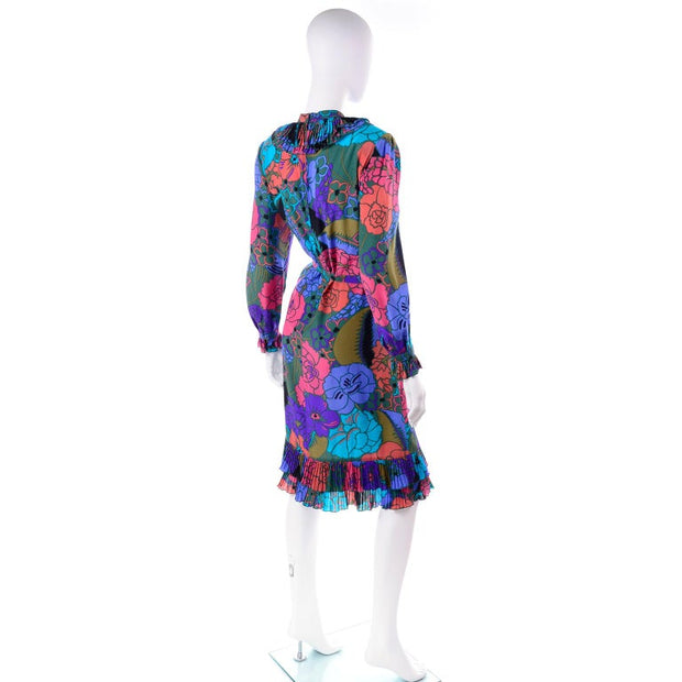 Louis Feraud Bold Floral Purple Silk Shift Dress w/ Pleated Ruffle Collar 10/12