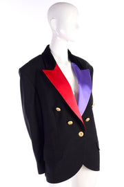 Louis Feraud Tuxedo Jacket Blazer Black W/ Purple & Red Satin Lapels