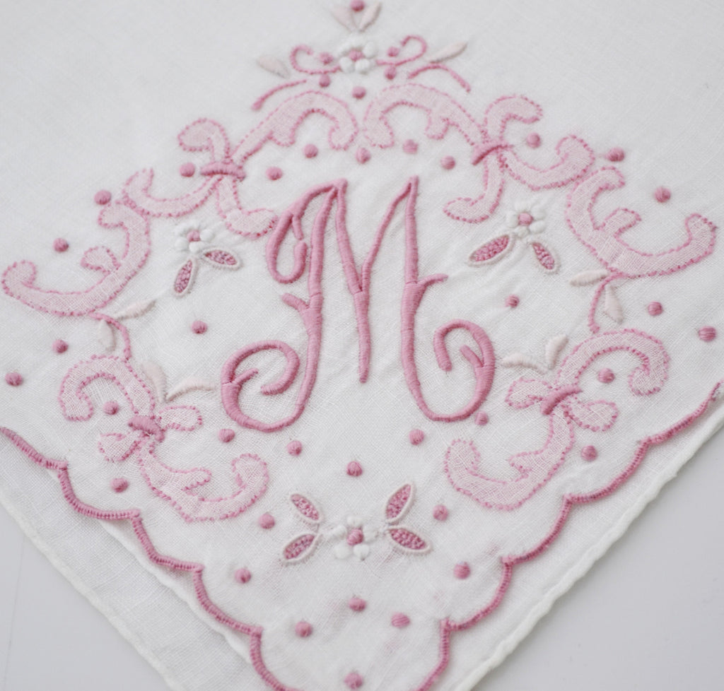 M monogram embroidered pink handkerchief