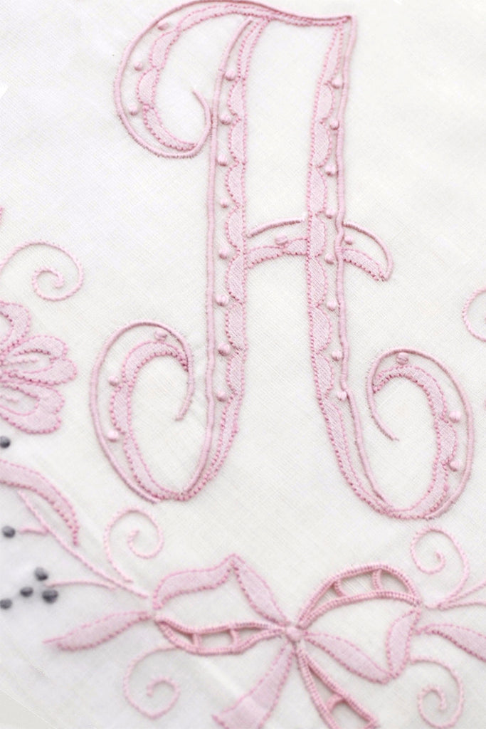 Madeira Pink Initial A Vintage Monogrammed Handkerchief