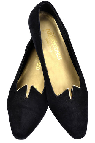 1980's Ferragamo Black Satin Slingback Peep Toe Heels with Bows 5.5