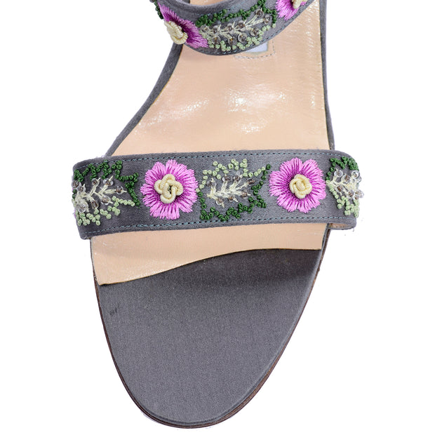 Manolo Blahnik Beaded Floral Slide Sandals w/ Pink Embroidered Flowers 8