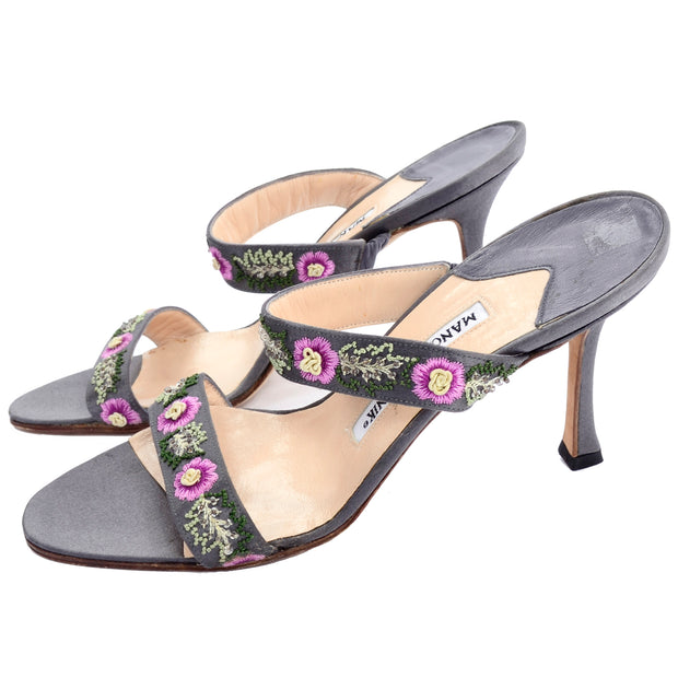 Manolo Blahnik silver slide sandals with embroidered flowers