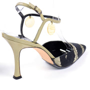 Manolo Blahnik Green & Black Pelotera Slingback Shoes w/ Original Box & Dust Bag heels 37