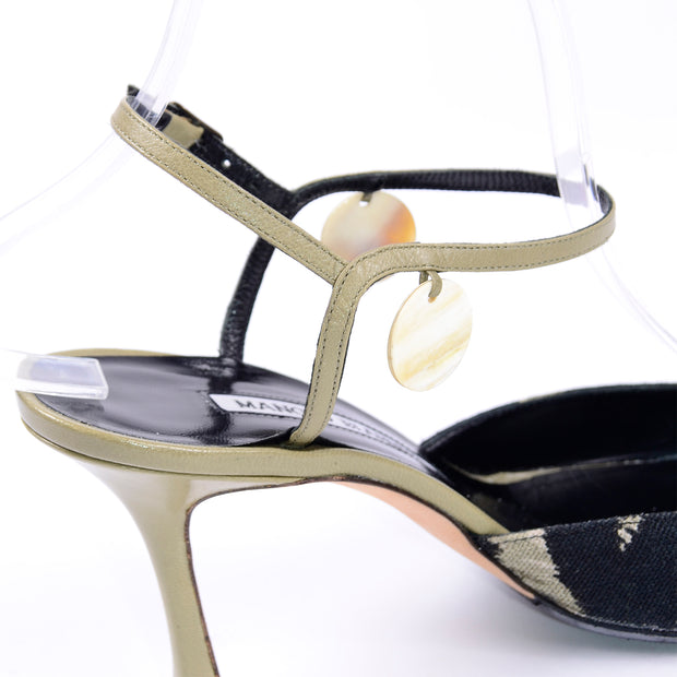 Manolo Blahnik Green & Black Pelotera Slingback Shoes w/ Original Box & Dust Bag Sz 37 with ankle straps