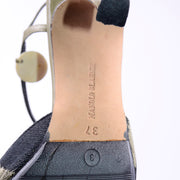 Sz 37 Manolo Blahnik Green & Black Pelotera Slingback Shoes w/ Original Box & Dust Bag
