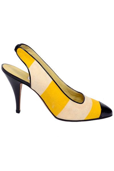 Yellow Cream Striped Manolo Blahnik Slingback Heels w Black Patent Leather Trim