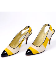 Yellow Striped Manolo Blahnik 1980's Slingback Heels