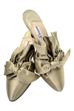Rare 1980's Ruffled Bow Manolo Blahnik Slip On Mules With Heel