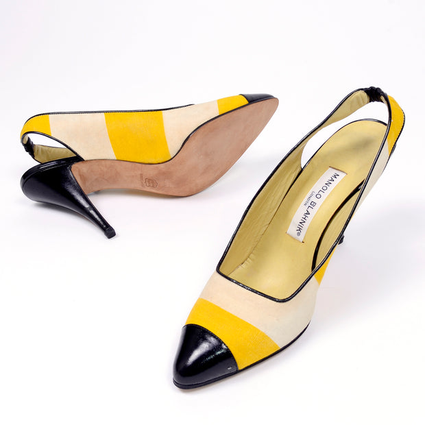 1980s Manolo Blahnik Yellow & Cream Striped Vintage Heels 39.5