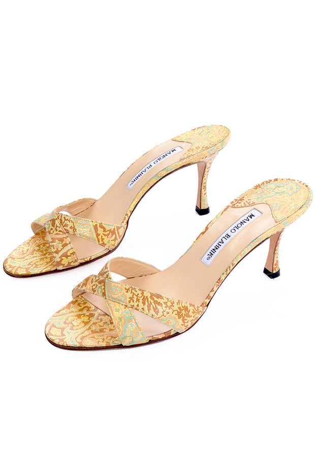 Manolo Blahnik Size 38.5 Gold Turquoise Bronze Floral Heel Sandals