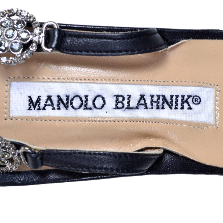 Rare Manolo Blahnik Vintage Ankle Strap Heels With Crystals Size 37 - Dressing Vintage