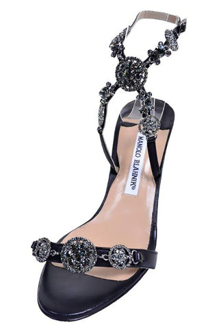 Black leather manolo blahnik open toe ankle strap heels