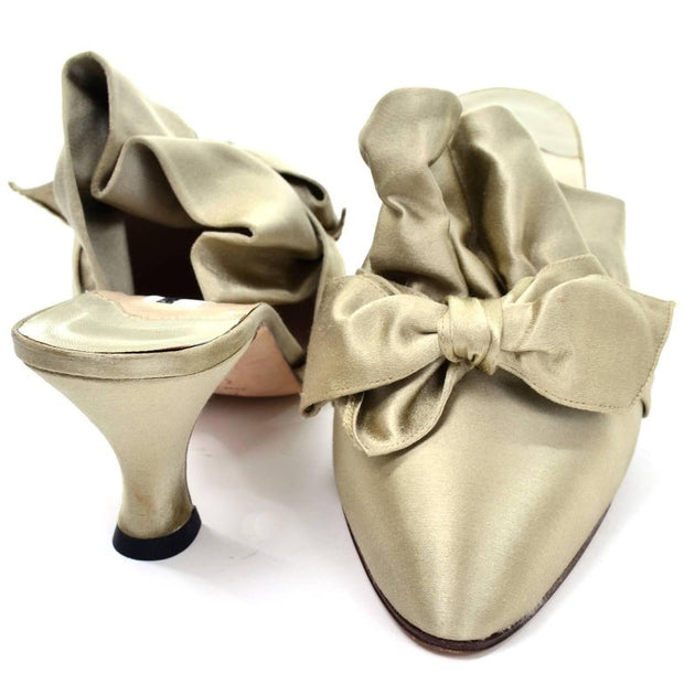 Green Satin Vintage ruffle bow mules by Manolo Blahnik