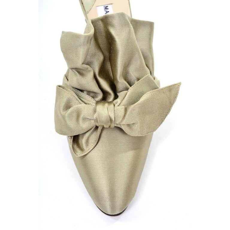 Unworn 1980s Manolo Blahnik Ruffled Mules with Satin Bow 39 - Dressing Vintage